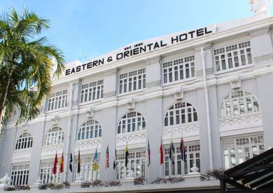 The Facade of the Eastern & Oriental Hotel (built in 1885) today.