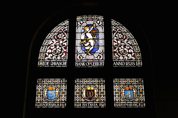 Stained Glass panel at the former De Javasche Bank (1828) in Kota Toea.  Today, it houses the Museum Bank Indonesia.
