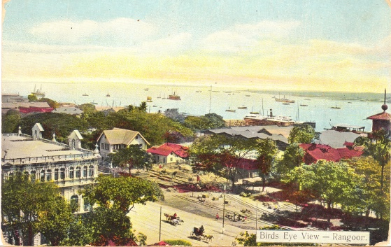 Bird's Eye View of Rangoon, early 1900s. Collection of the Author.
