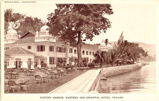 1900s view of the E & O's back-lawn facing the Malacca Straits, and its Victory Annexe.