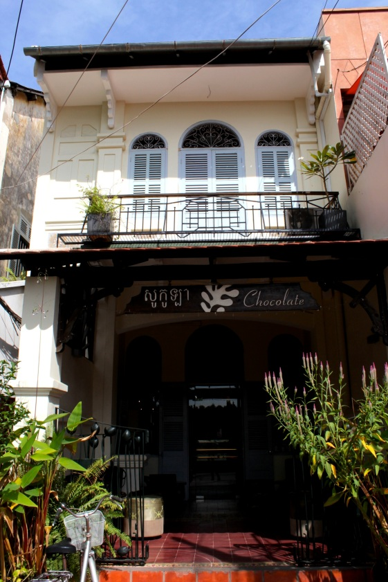 Traditional Chinese/Southeast Asian shophouse along Street 240, transformed into a cafe.