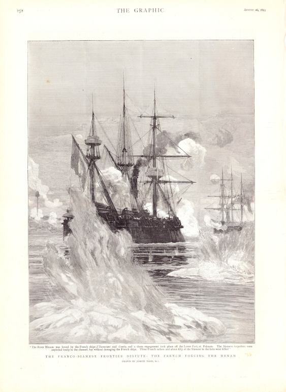 French Warships on the Maenam Chao Phraya, from an 1893 newspaper.