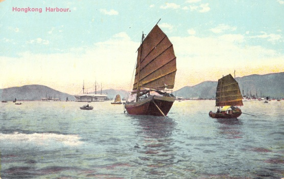 An iconic junk in Hong Kong Harbour, early 1900s.