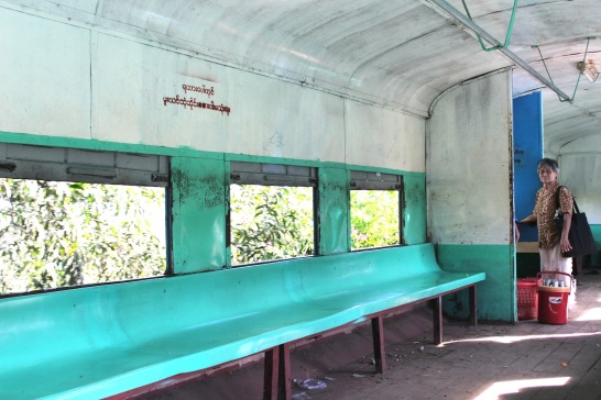 Interior of the Yangon Circular Train, during a rare moment of silence.
