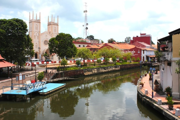 The Malacca River, with St Francis Church to the left.