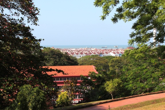 View from St Paul's Hill of Malacca town and the Straits of Malacca.