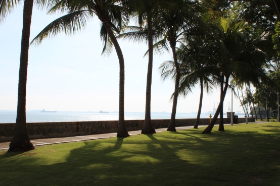 View of the Malacca Straits from the Grounds of the E & O Hotel in Penang.