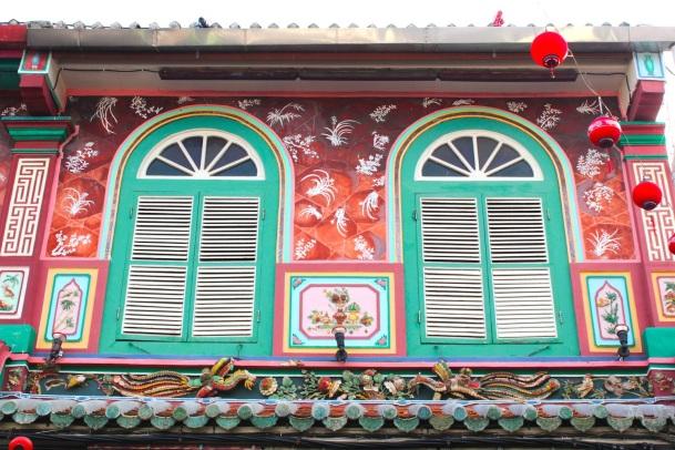 Shophouse facade along Jonker Street/Heeren Street.