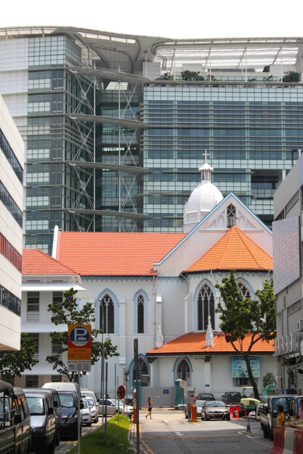 Colonial Contemporary - St John's Church on Queen Street juxtaposed against the National Library.
