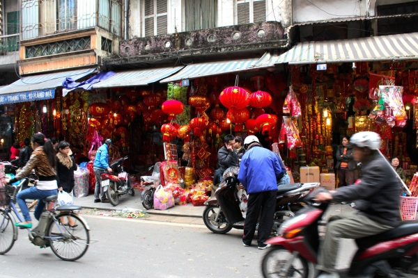 Hang Ma (or Votive Offering Street) in the Old Town, decked out for Tet - the Vietnamese / Chinese Lunar New Year.