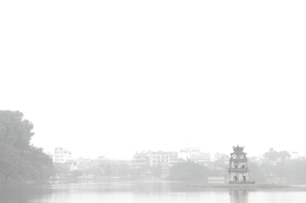 Hoan Kiem Lake, shrouded in mist.