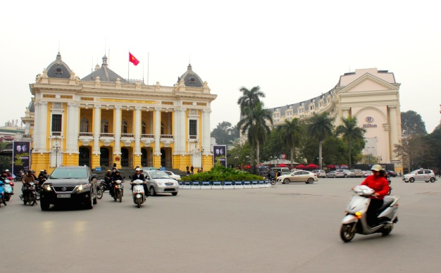 The Hanoi Opera House and the Hilton Hotel.
