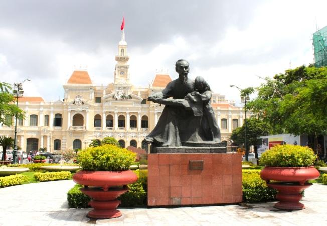 Statue of Comrade Ho before the former City Hall Building.