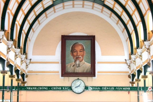 The beaming visage of Uncle Ho at the General Post Office building.